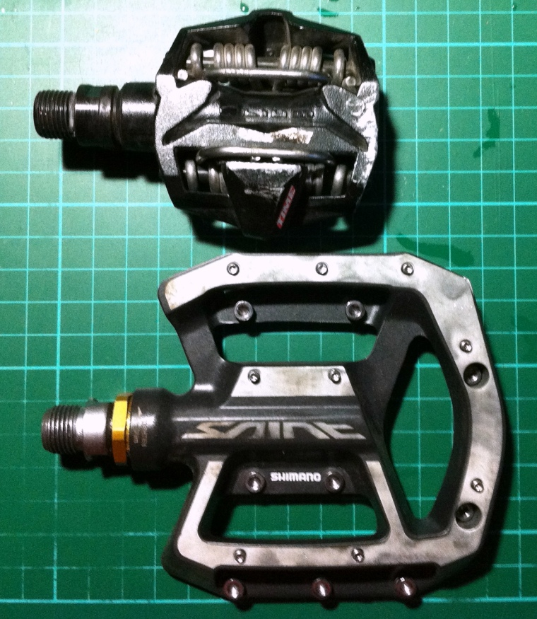Time ATAC and Shimano SAINT pedals. Big difference