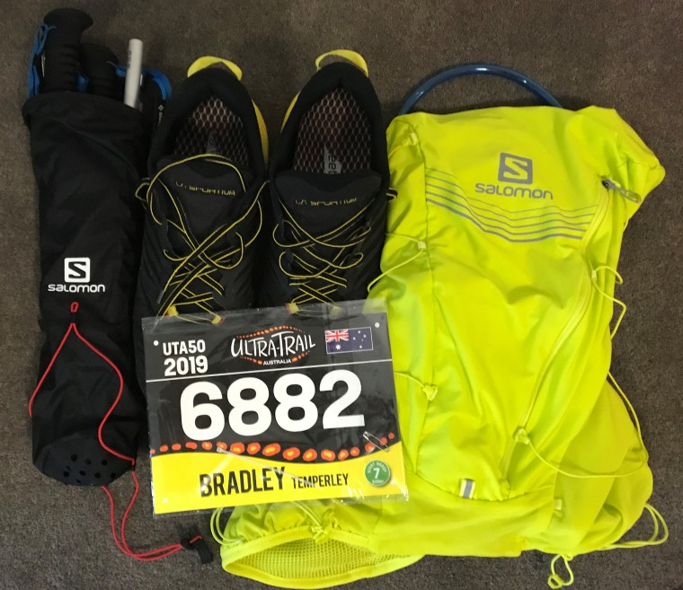 The vest pack, shoes and pole quiver for UTA50 2019
